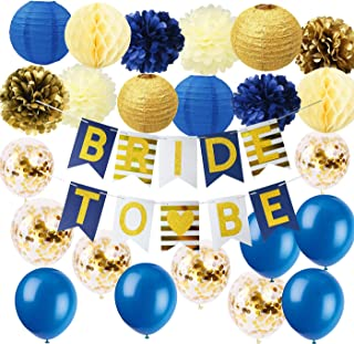 Furuix Navy Gold Bridal Shower Decorations Navy Gold Bride to Be Banner with Gold Glitter Letters Glitter Gold Paper Lanterns Confetti Ballons for Navy Gold Wedding/Bachelorette Party Supplies