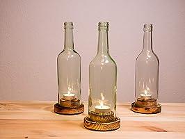 """Weinflaschen - Windlicht, Rustikal"""" 3er Pack"""