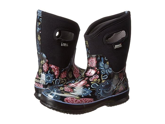 Bogs  Classic Mid (Black Multi Winter Blooms) Womens Rain Boots