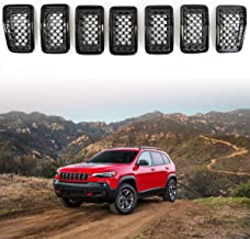 XBEEK Latest 7PC Grill Mesh Honeycomb Inserts for 2019 Jeep Cherokee Gloss Black Ring Front Grille Covers