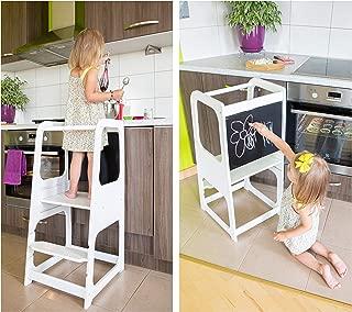 Torre de Aprendizaje Montessori - Plataforma de Madera para Trepar en la Cocina para Bebés y Niños - Torres Ajustables para Encimeras y Mesa - Taburete Seguro y Duradero - Learning Tower (Blanco)