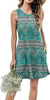 SimpleFun Womens Summer Sleeveless Boho Beach Dress Sundress with Pockets(XL, Green Printed)