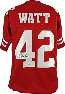 Wisconsin T.J. Watt Authentic Signed Red Jersey Autographed JSA Witness