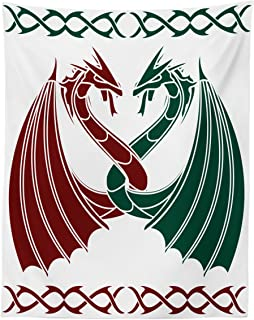 Lunarable Celtic Tapestry Twin Size, Dragons Theme Design Mythical Early Medieval Scandinavian Celtic Castle Knights Print, Wall Hanging Bedspread Bed Cover Wall Decor, 68