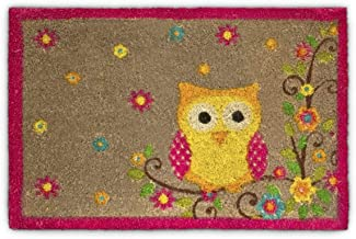 Relaxdays Coconut Fibre Coir Doormat with OWL and Flower Design 40 x 60 cm Welcome Mat with Anti-Slip Rubber PVC Underside...