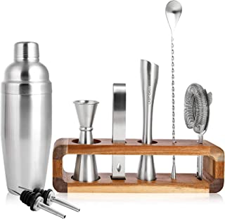 LAST CALL Barware Modern 9 piece Bartender Kit | 100% Real Acacia Wood Stand | Top Grade Professional & Home Bar Set w/Authentic Bar Tools | Designed in Denver CO | Premium Brushed Stainless Steel