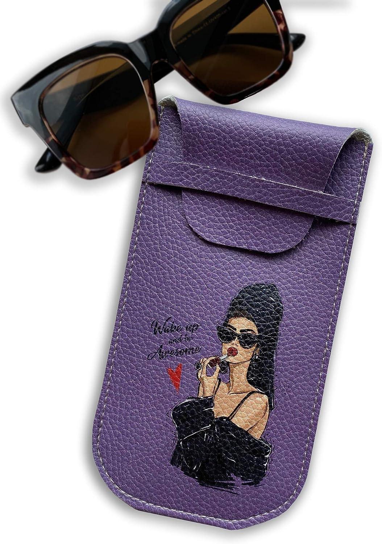 Beige Sunglasses case Eyeglass Pouch Sunglass Cover Woman Eco Leather Eyewear Holder Vegan Eco Leather Fashion Illustration
