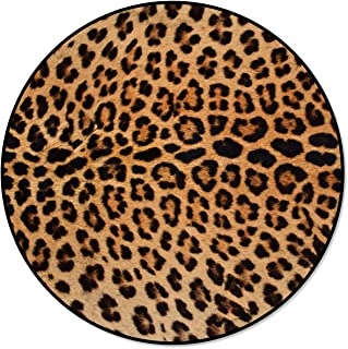 Infinidesign Leopard Print Area Rugs Round Diameter 3ft, Non Slip Carpet with Rubber Backing, Washable Floor Rug for Home ...