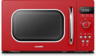 COMFEE' AM720C2RA-R Retro Style Countertop Microwave Oven with 9 Auto Menus Position-Memory Turntable, Eco Mode, and Sound On/Off (Passionate Red),0.7Cu.Ft