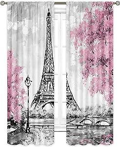 Cinbloo Eiffel Tower Curtains Rod Pocket 29 (W) x 63(L) Inch Paris Pink Trees Oil Painting European City Landscape France Art Printed Living Room Bedroom Window Drapes Treatment Fabric 2 Panels