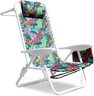 South Bay Board Co. Premium Beach Chair - Luxurious & Comfortable Suspension Seating, Folding Outdoor Chairs with 3 Position Lay Flat Reclining Mechanism