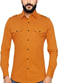 GLOBALRANG Men's Full Sleeve Corduroy Party Causal Shirt with Double Flap Pockets