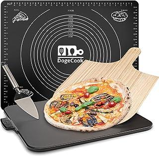 DOGE COOK Pierre à Pizza + Pelle à Pizza en Bambou + Spatule + Tapis Cuisine en Silicone | Kit Pizza Complet | Pierre Pizz...