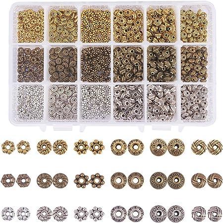 PandaHall 1 Scatola 900 PC 6 Stile 3 Colori Lega Antica tibetana Perline distanziali Accessori di Gioielli Accessori per la creazione di Collana Braccialetto bigiotteria
