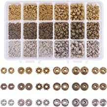 PH PandaHall 900pcs 6 Style Tibetan Alloy Spacer Beads Gear Bicone Flower Metal Jewelry Spacers for Bracelet Necklace Making(Antique Silver, Antique Bronze and Golden)