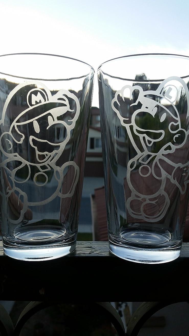 Mario Luigi Super Mario Brothers Pint Glass Set Beer Cups 16 oz