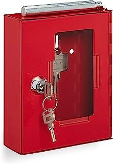 Relaxdays 10031047 Petite boîte à clés d'urgence en métal avec vitre Marteau à briser en Verre Rouge, 1