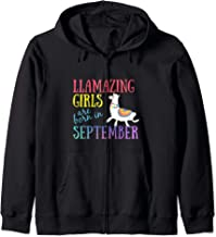 Llamazing Girls Are Born In September Cute Funn Llama  Zip Hoodie