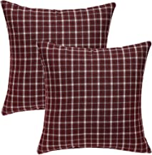 uxcell Set of 2 Farmhouse Buffalo Check Plaid Throw Pillow Cover Decorative Cushion Pillowcase for Bed Sofa Couch Car 18x18 Inches Burgundy