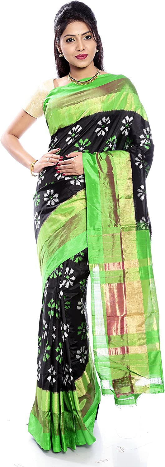Mandakini — Indian Women's Handloom  Ikat Pure Silk Saree (GreenBlack) (MK368)