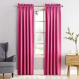 "Sun Zero Barrow Energy Efficient Rod Pocket Curtain Panel, 54"" x 84"", Pink, One Panel"