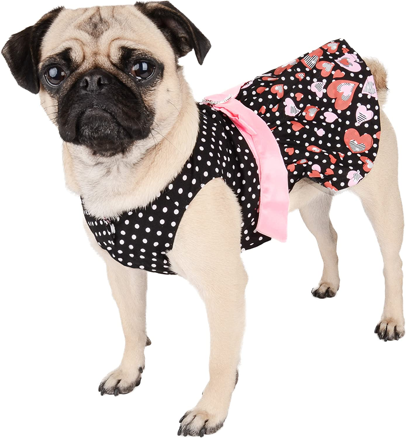 CueCue Pet CCPPlkDotHrtDressREDPNKS Polka Dot Hearts Dress with Removable Heart Bow, Black Red Pink