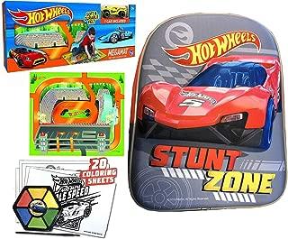 Hot Wheels Pack & Race MegaMat Felt Racing Scene + Bonus Car Bundled with Stunt Zone Mini Backpack Fun Vehicle Activity Play Kit!