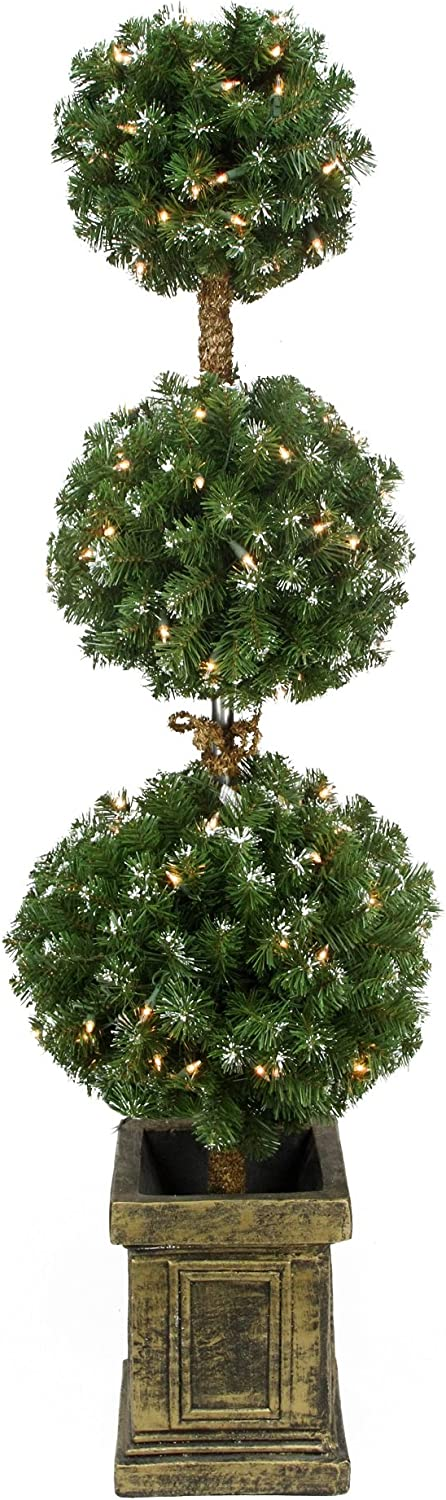 Northlight Pre-Lit Potted Triple Ball wi Denver Max 88% OFF Mall Topiary Artificial Tree