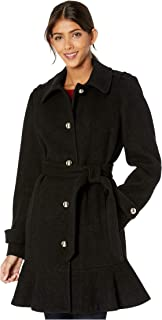 Kate Spade New York Military Shoulder Single Breasted Trench Coat Black XL