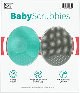 STS Baby 523401 Silicone Exfoliating Cradle Cap Bath Brushes - 2 Inch x 2.5 Inch, Grey and Teal, 2 Pack