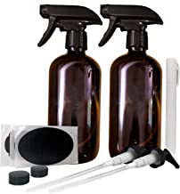Large Empty Refillable Amber Glass Safe for Essential Oils Spray Bottles | 2 Pack, Includes bonus pens, pumps, and labels | Great for All natural Cleaners, Lotion, Hair, Home, Skin, Baby and More