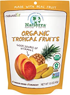 NATIERRA Nature's All Foods Organic Freeze-Dried Tropical Fruits | Non-GMO & Vegan | 1.5 Ounce