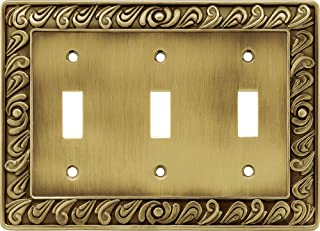 Franklin Brass 64055 Paisley Triple Toogle Switch Wall Plate/Switch Plate/Cover, Tumbled Antique Brass