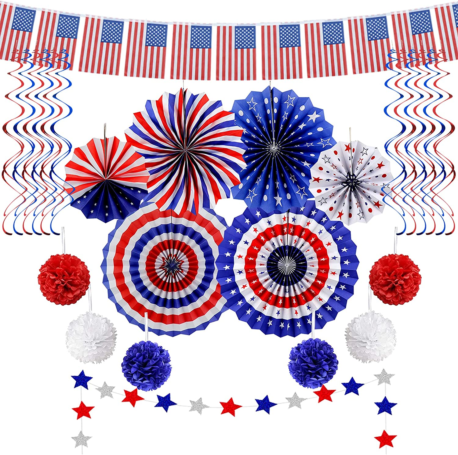 26Pcs Patriotic Party Decorations 4th of July American Flag Decor Set - USA Flag String, Red White Blue Paper Fans, Star Streamer, Pom Poms, Hanging Swirls Party Supplies for American Theme Party