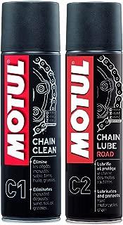 Pack + economico MOTUL MC Care Spray Lubricante Cadena (C2) y limpiador de cadena (C1) motos de carretera.