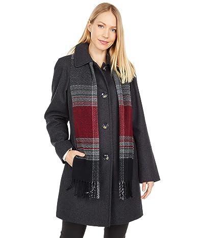 London Fog Short Button Front Wool Coat (Charcoal) Women