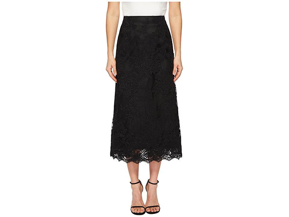 Marchesa Blush Corded Tea Length Lace A-line Skirt (Black) Women's Skirt