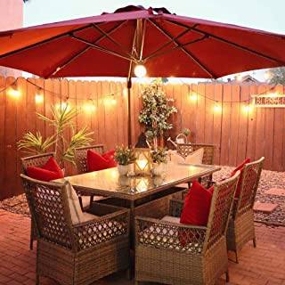Abba Patio 11 Feet Offset Cantilever Umbrella with Solar Lights, Jockey Red