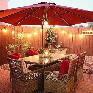 Abba Patio 11 Feet Offset Cantilever Umbrella with Solar Lights, Jockey Red