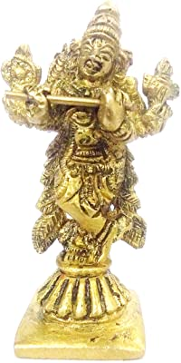 Purpledip Brass Idol Lord Krishna: Small Statue for Home Temple, Office Table, or Shop Counter (11983)