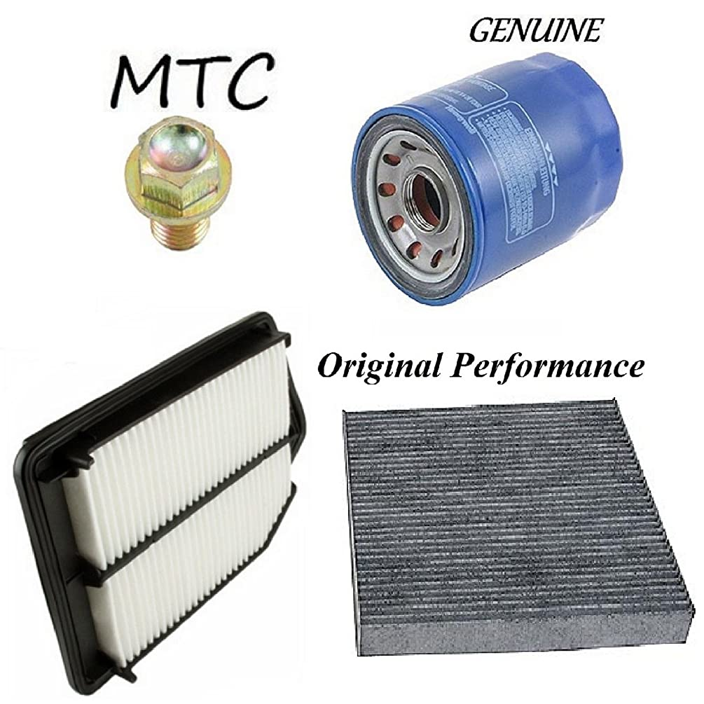 Tune Up Kit Oil Drain Plug Cabin Air Oil Filters for Honda Accord L4; 2.4L; K24W1 Eng. 2013-2014