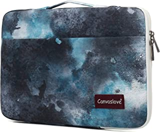 Canvaslove Watercolour Pattern Conner Bottom Rebound Bubble Protection Waterproof Laptop Sleeve with Handle and Pockets for MacBook Pro Air 13 inch Surface Laptop Book 13.5 inch and 13.3 inch Laptop