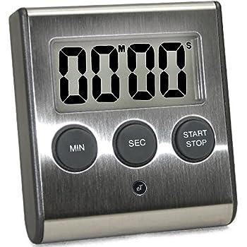 Elegant Digital Kitchen Timer, Stainless Steel Model eT-23, SUPER Strong Magnetic Back, Loud Alarm, Large Display, Auto Memory, Auto Shut-Off