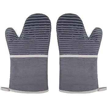 ZWOOS Gants de Four 1 Paire, Gants Cuisine en Silicone Gant Four 100% Coton Gant Anti Chaleur pour Barbecue, Cuisine, Grillade, Cuisson, Micro Ondes,