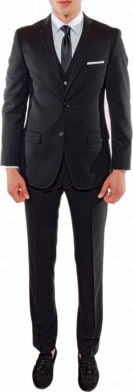 Ferrecci Men's Savannah Collection Black Slim Fit 3 Piece Suit Jacket with Vest and Trousers - 38R