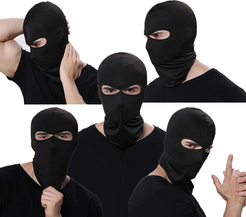 GANWAY Pack of 5 Work Face Mask Balaclava Black Thin Ski Mask for Men