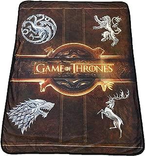 "Rabbit Tanaka Game of Thrones Logo Soft Fleece Blanket - House Sigil Fleece Throw - Game of Thrones Family Crests 46"" x 60"" Fleece Throw Blanket"