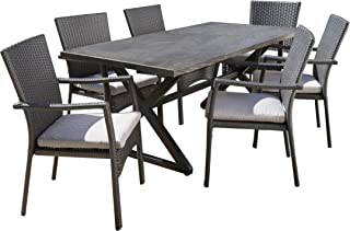 Christopher Knight Home Adella Outdoor 7 Piece Grey Aluminum Dining Set with Grey Wicker Dining Chairs and Grey Water Resistant Cushions