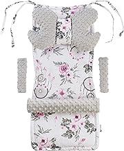 Inserto universal para cochecito Manta para cochecito 5p Protector de cinturón + superposición para diadema Algodón + Minky Medi Partners (Atrapasueños de flores de flores Minky)