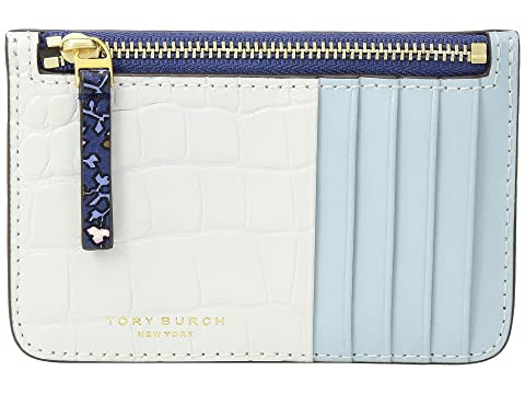 Footlocker Finishline Sale Online Sale Professional Tory Burch Color Block Top Zip Card Case Blue Wild Pansy Sale How Much Clearance Eastbay kIQZcEDf